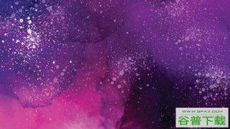 紫色水彩墨迹背景图片PPT模板免费下载