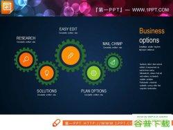 三张齿轮联动图表PPT模板免费下载