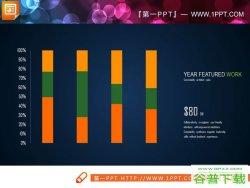 16张绿橙配色的柱状图PPT模板免费下载