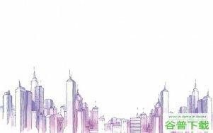 水彩城市建筑背景图片PPT模板免费下载