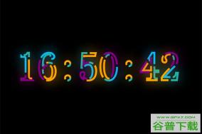 HTML5 SVG彩色文字时钟特效特效代码免费下载
